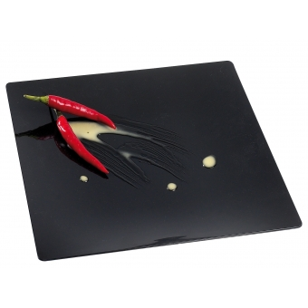assiette fluid noire 110x110 par 10